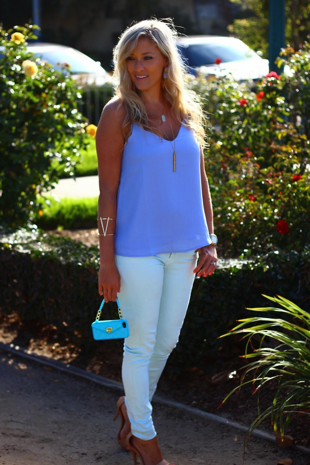 blue outfit, aqua illusion skinny jeans, v shape bracelet