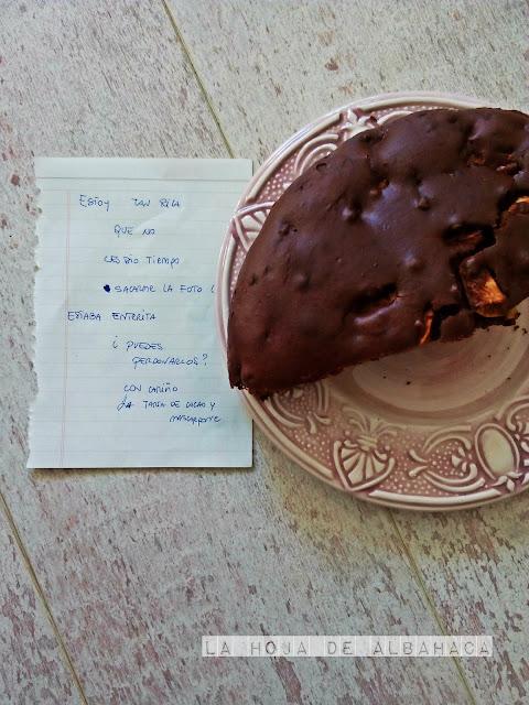 receta bizcocho, mascarpone,cacao, manzanas