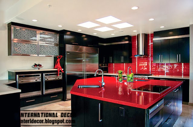 decorate with red, red and black kitchen