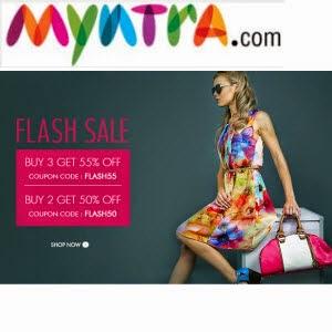 Myntra : Clothing, Footwear & Accessories 50% off, Buy 3 Get 55% off