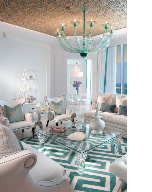 The Lennoxx, turquoise living room, greek rug, nailhead furniture