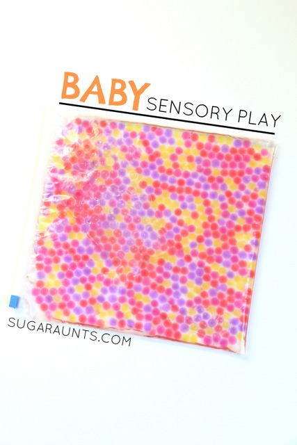 This sensory play activity is perfect for babies! Baby-safe water bead play