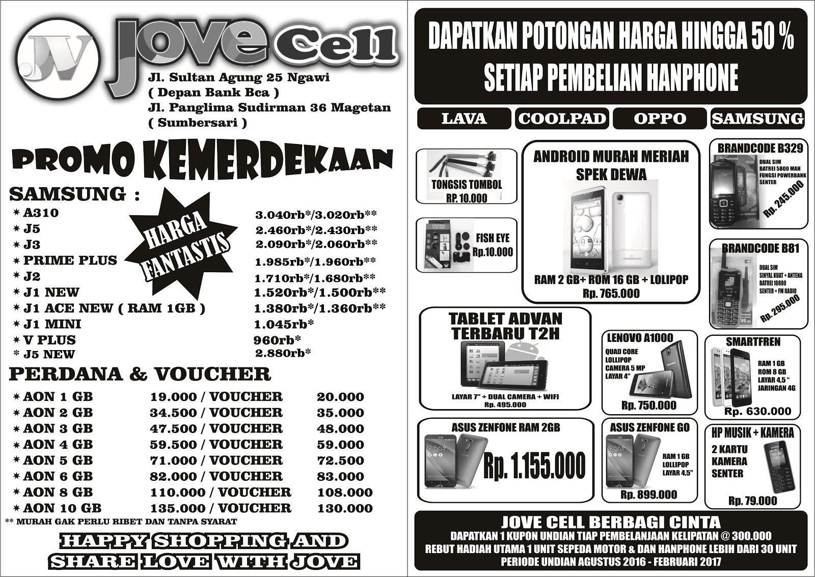 Jovecell Jl Sultan Agung 25 Ngawiarah Psr Besar Sudirman Voucher Aon Promo Baru