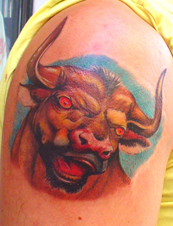 Bull tattoos about lady for Bull tattoo meaning