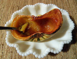 Individual Squash being eaten with spoon