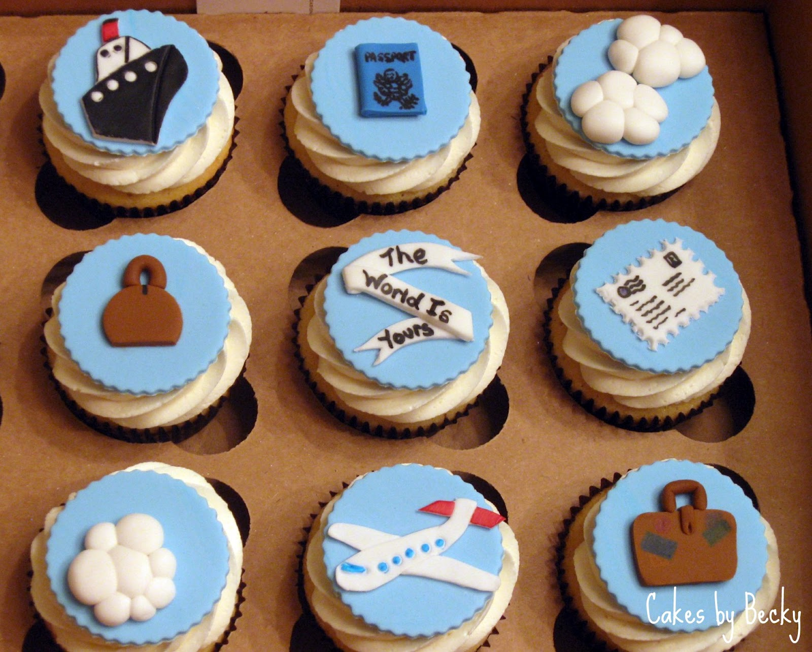 travel themed cupcakes