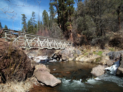 Bridge to Spence hot springs near Jemez