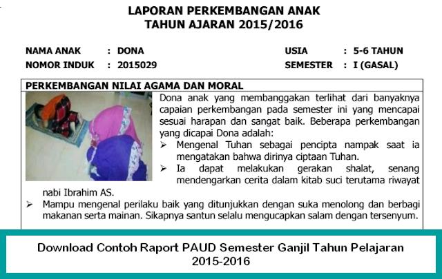 Berkas Sekolah - Download Contoh Raport PAUD Semester Ganjil Tahun Pelajaran 2015-2016