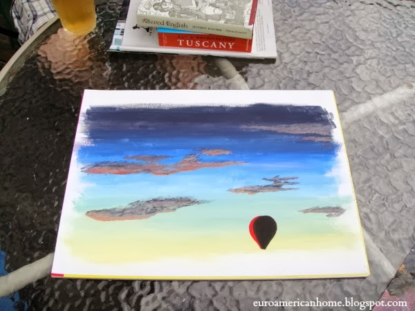 Painting of a hot air balloon: EuroAmericanHome