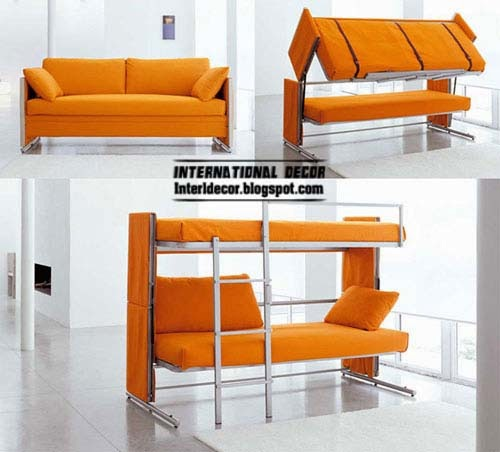 furniture for small apartments 2014 orange transforming sofa