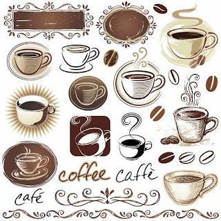 Ícones de café e xícaras vetorizados