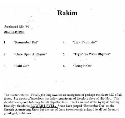 Rakim – Unreleased Shit '96 (Vinyl) (1996) (192 kbps)