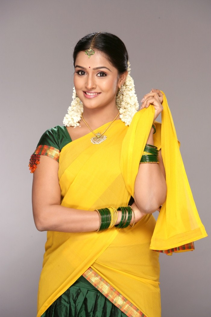 Remya Nambeesan in Yellow and Green Saree Photo Gallery