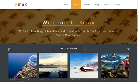 Xmax One-Page Portfolio Blogger Template