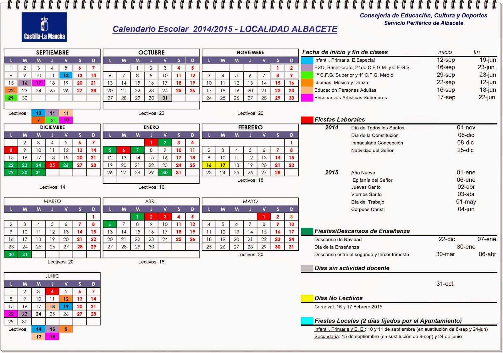 Colegio Santo Angel: Calendario Escolar 2014-2015 Localidad ALBACETE