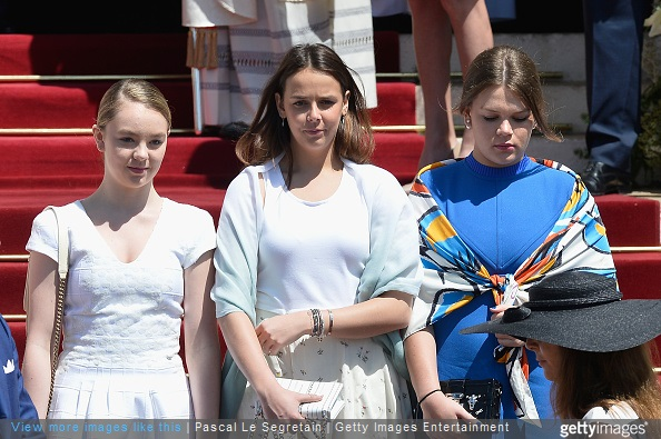 Alexandra of Hanover, Pauline Ducruet and Camille Gottlieb attend The Baptism Of The Princely Children at The Monaco Cathedral on May 10, 2015 in Monaco, Monaco.