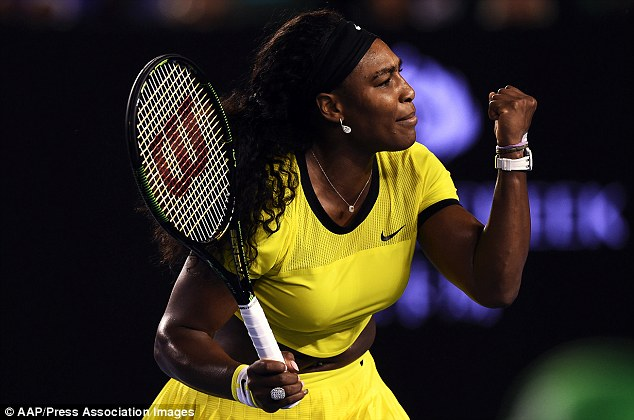 Williams celebrates during her semi-final victory over Poland's Agnieszka Radwanska on Thursday