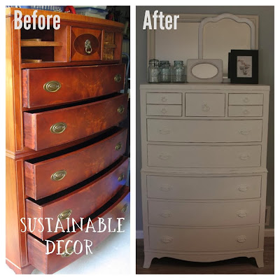 Craiglist Dresser Transformed Into a Beautifully Distressed Painted Piece of Furniture