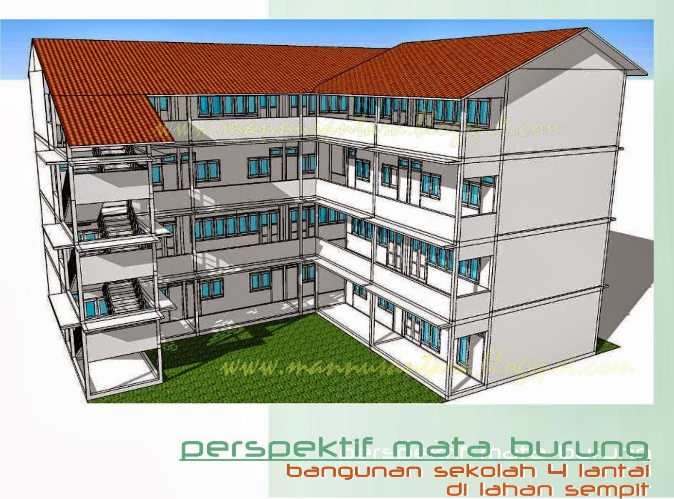 Desain bangunan Sekolah Empat Lantai di Lahan Sempit (21 x