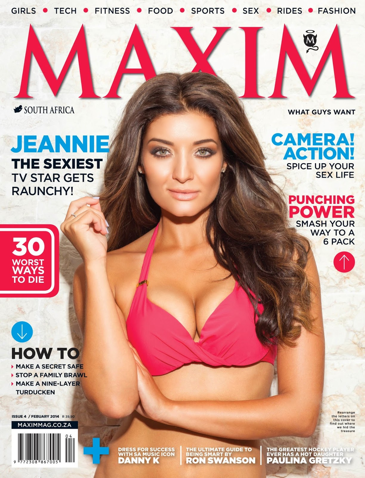 Magazine cover : Jeannie D Magazine Photoshoot Pics on Maxim Magazine South Africa February 2014 Issue