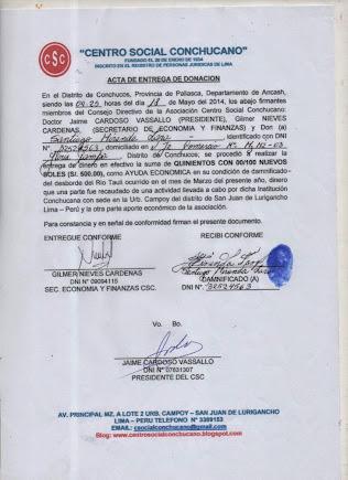 ACTA DE ENTREGA A SANTIAGO MIRANDA LARA