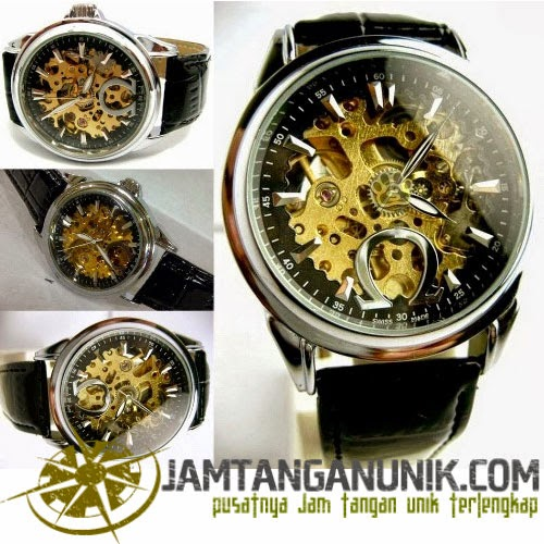 jam tangan omega analog jarum automatic tanpa baterai mesin tembus pandang