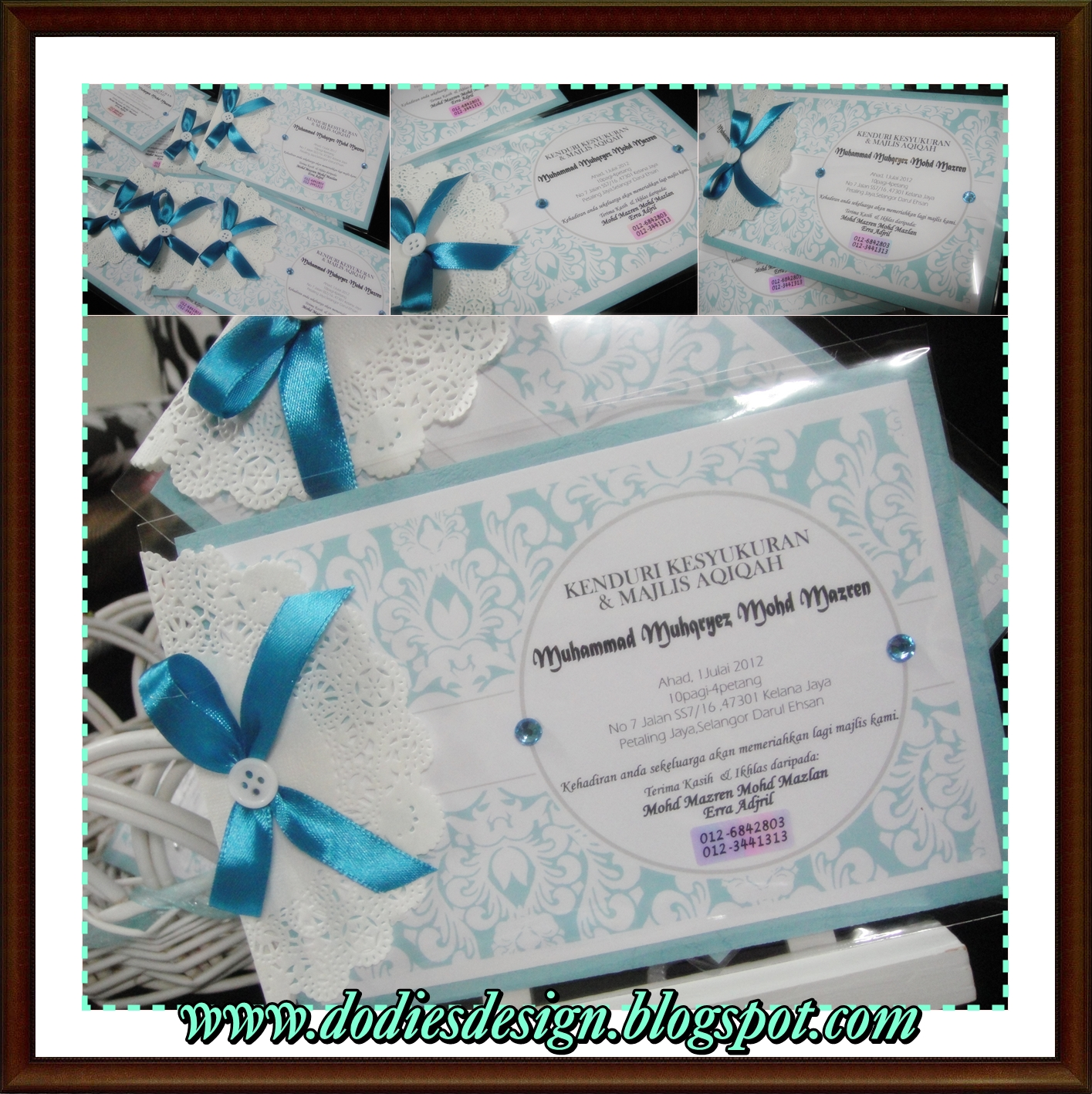 Dodiesdesign aqiqah invitation card mazrin erras newborn baby aqiqah invitation card mazrin erras newborn baby stopboris Image collections