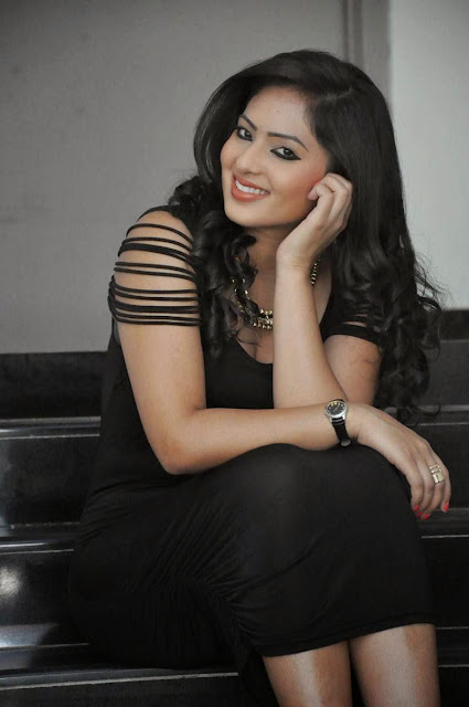 Actress Nikesha Patel Latest  Pictures in Black Short Dress 10.JPG