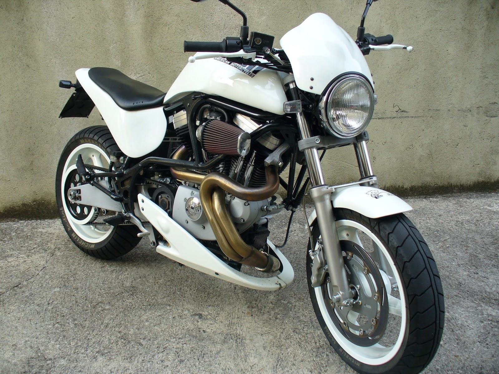 Buell M Cyclone White Front on Small V Twin Motorcycle Engines