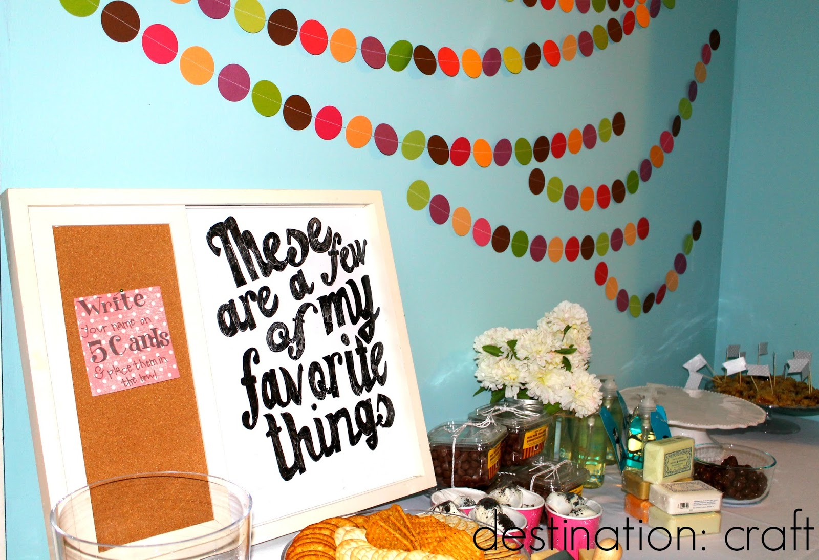 destination craft favorite things party. Black Bedroom Furniture Sets. Home Design Ideas