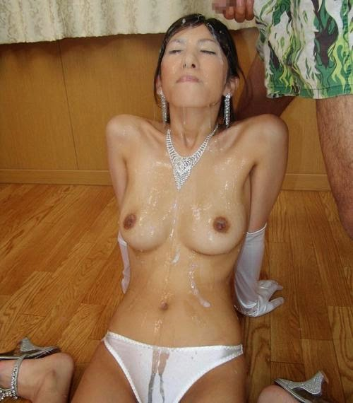 tits covered Asian cum