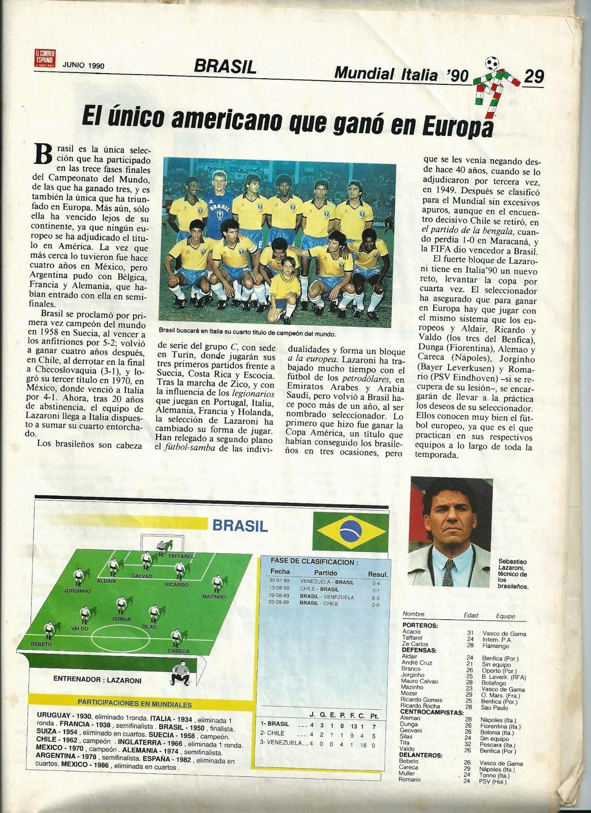 Artículo de 1990 sobre Brasil. Cuando Brasil empezó a jugar con líbero.