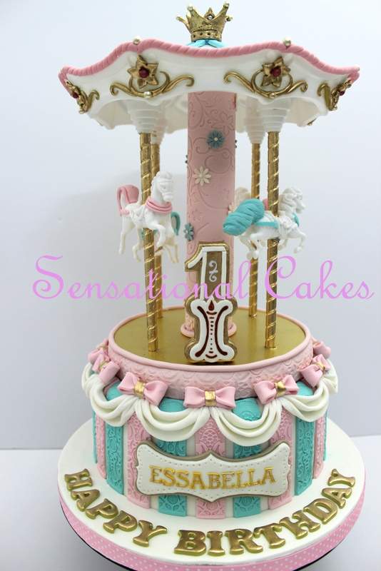 The Sensational Cakes Pastel Pink Girlie Carousel Theme 3d Cake