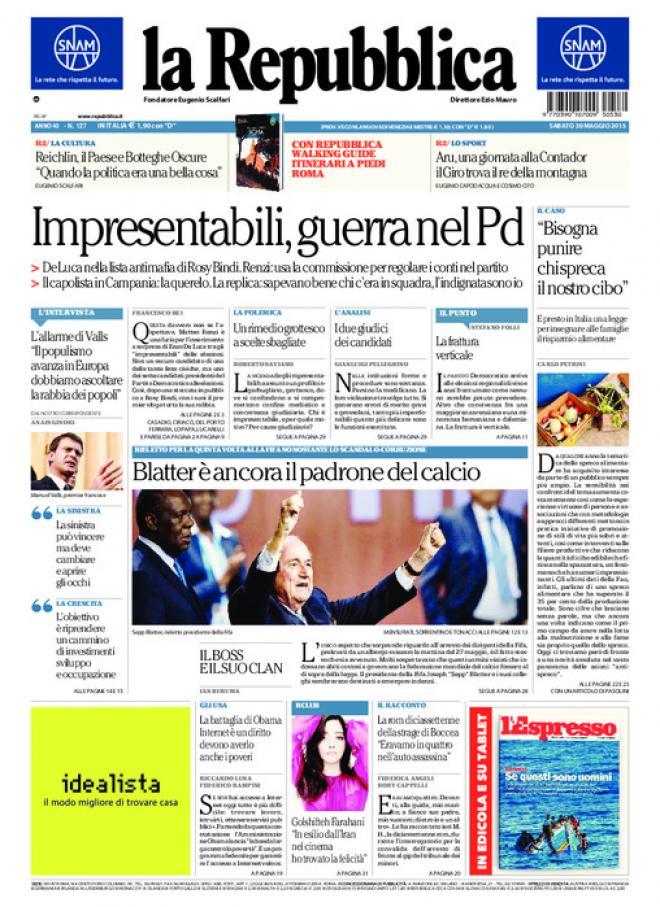 Reportages quotidiani la miglior prima pagina di oggi 30 for Home page repubblica