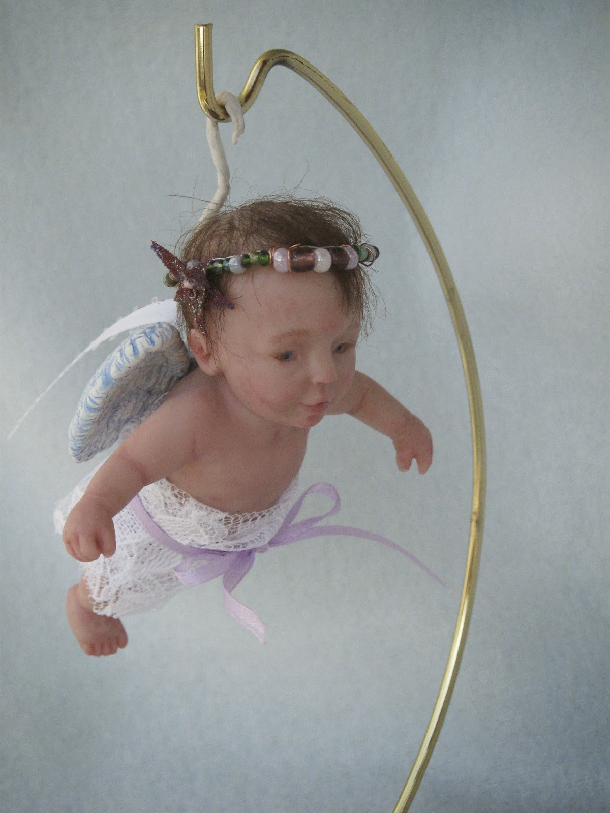 one of a kind art by catherine ooak baby angel ornament by