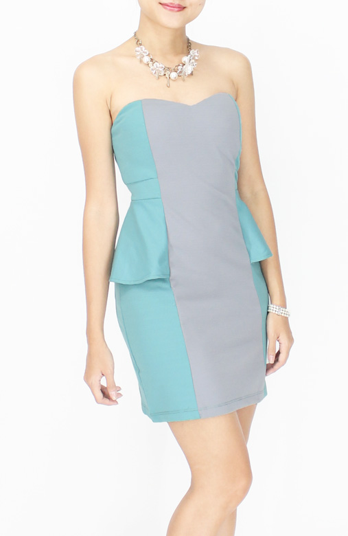 Sweetheart Party Peplum Dress in Colour Block