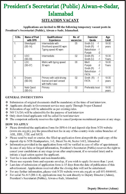 Government Jobs in Awan E Sadar Islamabad President's Secretariat Jobs