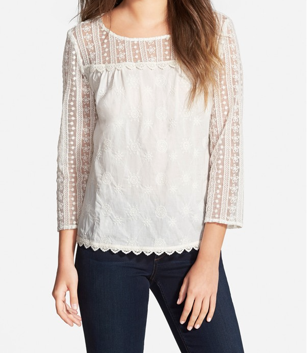 HInge  lace mix top