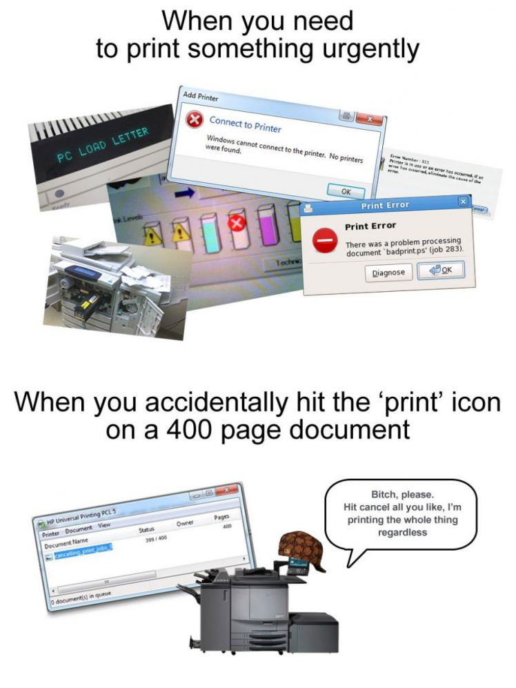 printer problem that sucks like shit