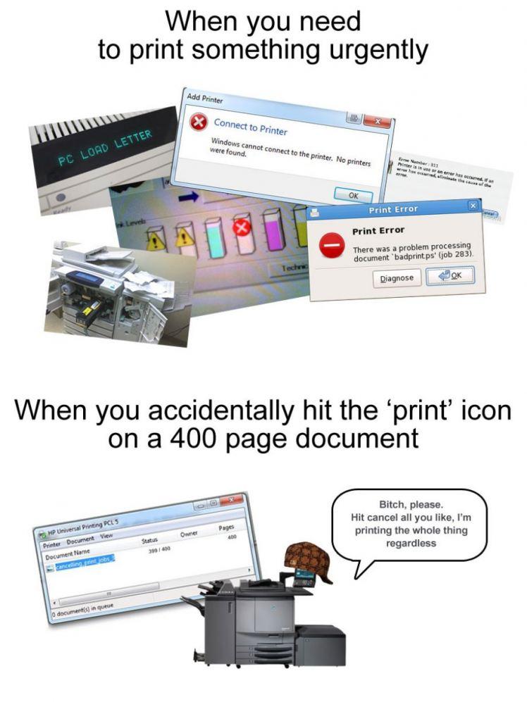 printer problem that sucks like shit