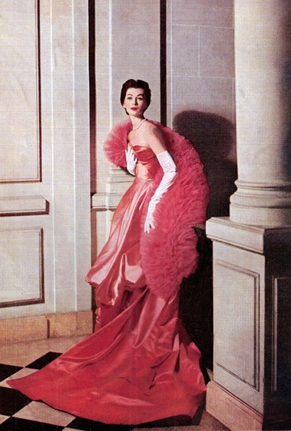 Vintage red gown in 1953
