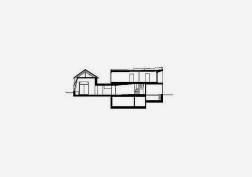 Plano arquitectónico de un corte de la residencia rural suiza