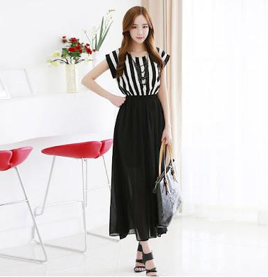 Contoh model dress korea dibawah lutut import