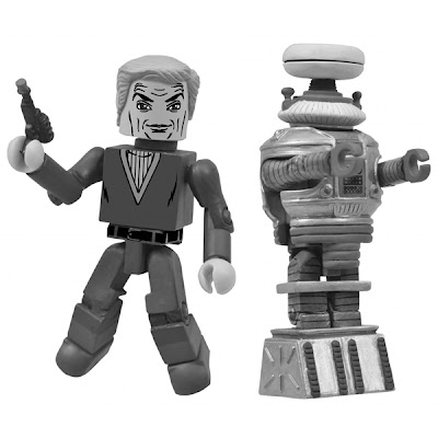 San Diego Comic-Con 2013 Exclusive Black and White Lost In Space Minimates 2 Pack - Doctor Zachary Smith & The Robot