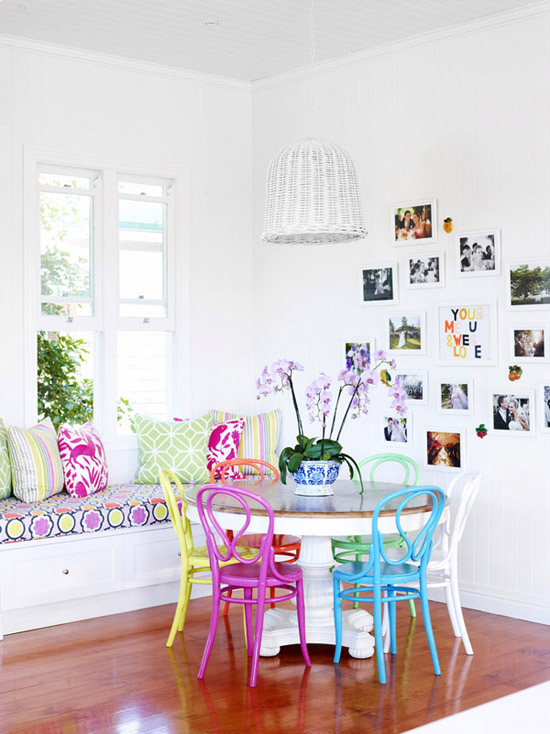 Colorful dining chairs | Image by Toby Scott via The Design Files.