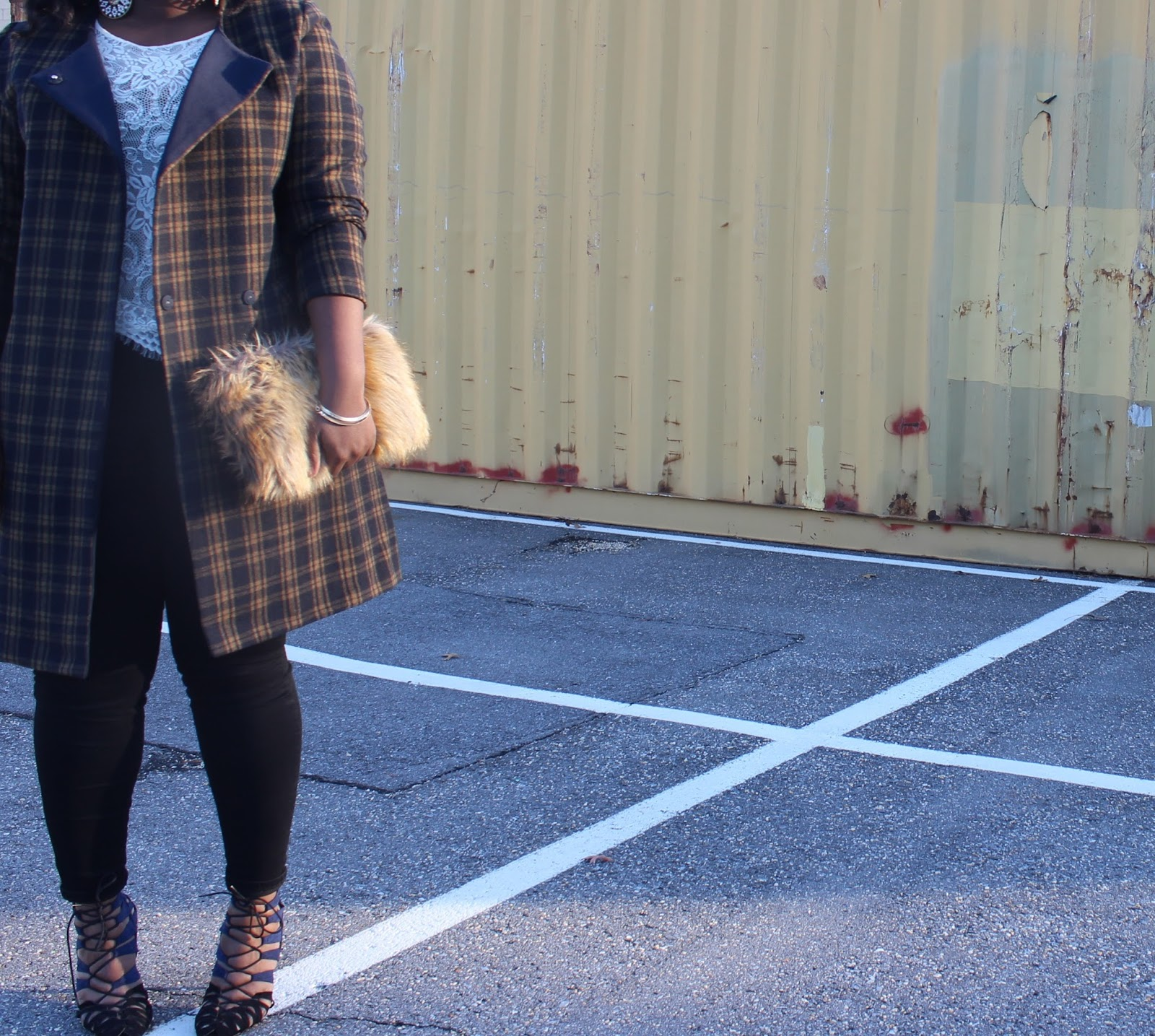 HM, PLAID COAT, PLUS, SIZE