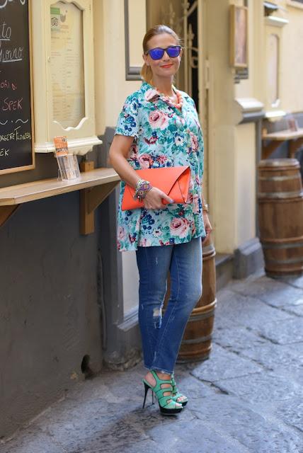 Kenzo floral print, Kenzo shirt, Loriblu heels, Fashion and Cookies, fashion blog