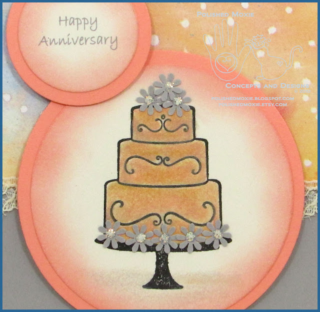 Close up picture of the cake image and sentiment on my handmade wedding anniversary card.