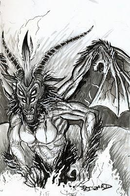 Demonio en Blanco y Negro con Cachos y Alas-capricornio