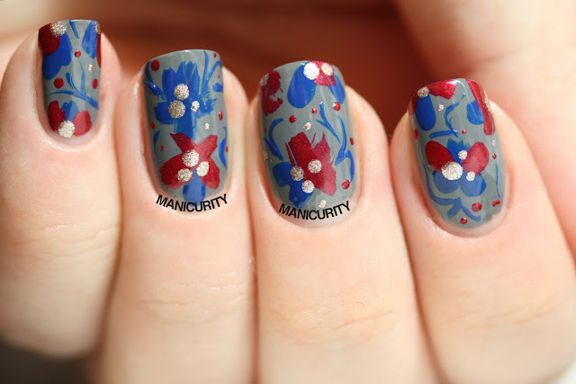 Manicurity | Tri Polish Challenge: Abstract Floral Tapestry with Pure Ice polishes